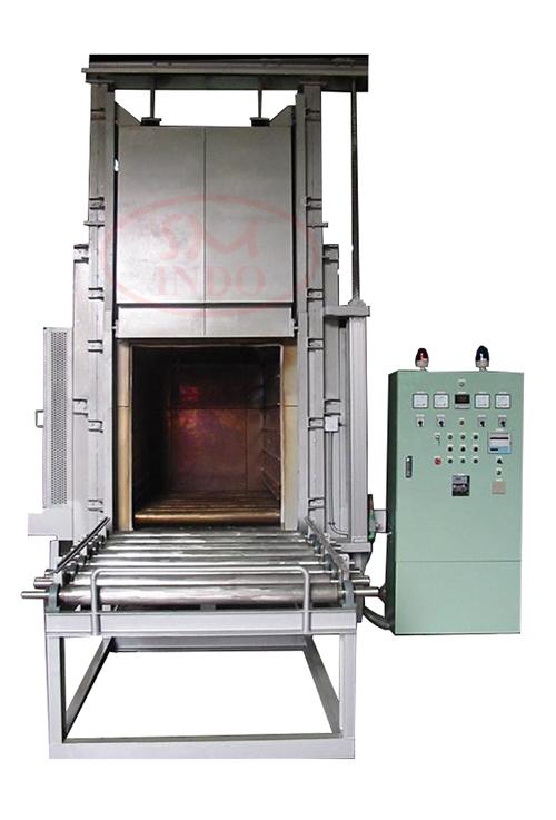Hi Temp Vertical Lift Door Oven With Gravity Roller Conveyor ( VLDO-GRC-HT )
